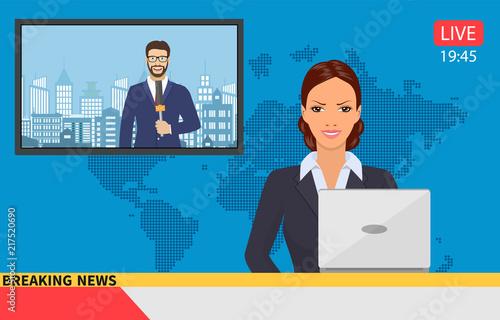 Photo News anchor broadcasting