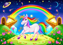 Rainbow Unicorn In A Fantasy L...