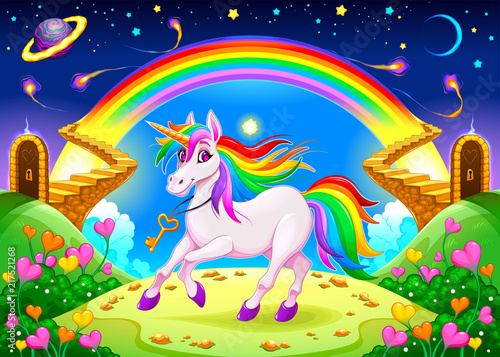 Foto auf Gartenposter Kinderzimmer Rainbow unicorn in a fantasy landscape with golden stairs