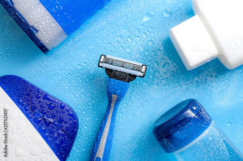Photo Men cosmetic products, personal hygiene and male hair care and shaving concept w