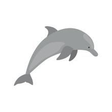 Dolphin Color Vector Icon. Fla...