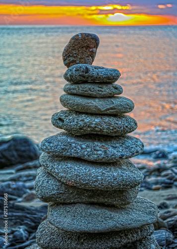 Photo sur Toile Amsterdam Zen Stone Cairns