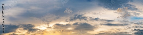 Fototapeta Vibrant panorama sunset sky on twilight time. Beautiful cirrus cloud. Panoramic image obraz na płótnie