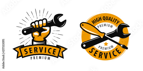 Valokuva Service work, repair label or logo
