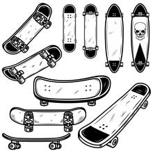 Set Of Skateboard And Longboard Illustrations On White Background. Design Element For Logo, Label, Emblem, Sign, Badge, T Shirt, Poster.