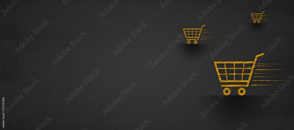 Fototapety, obrazy: shopping online concept, shopping cart on a blackboard