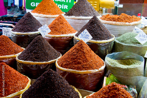 Canvas Prints Condiments spices on market stall in bazar of sanliurfa, turkey