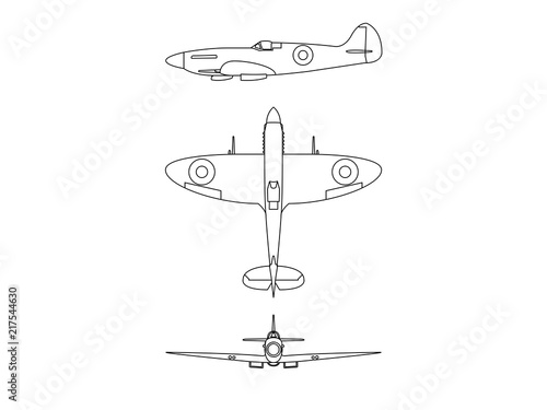 Photo world war 2 plane Spitfire illustration