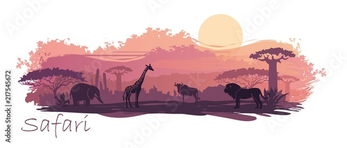 African landscape with wild animals. Vector Illustration Canvas