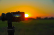 Closeup actioncam filming sunset