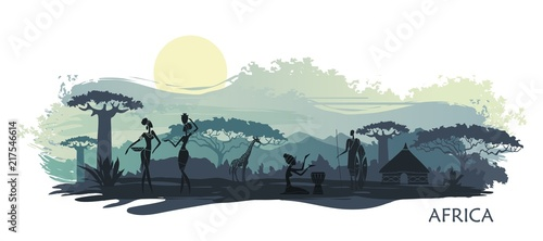Poster Blanc Background with landscape of South Africa. Vector illustration
