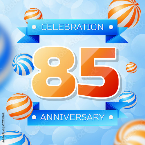 Poster  Realistic Eighty five Years Anniversary Celebration design banner