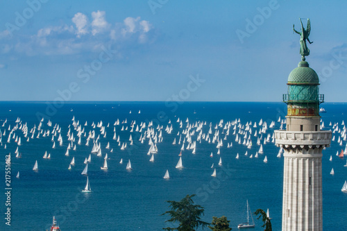Trieste, Italy - Europe - October, 8th, 2017 - More than 2100 vessels are racing during the 49th Barcolana Regatta on the Adriatic Sea Fototapete