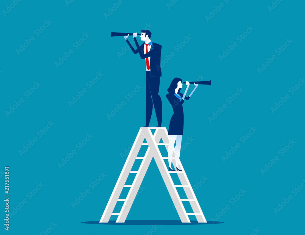 Fototapeta Stage of work. Business team and telescope, Concept business vector. Teamwork, Successful.