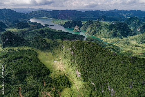 Foto op Canvas Nachtblauw Aerial view of Karst mountains and rice fields