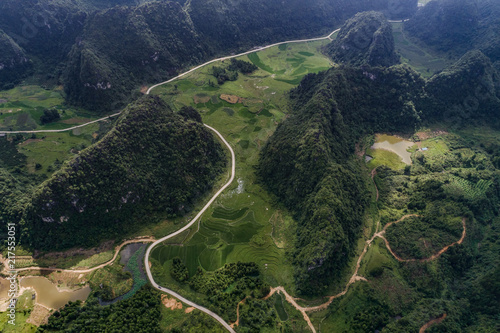 Foto op Aluminium Nachtblauw Aerial view of Karst mountains and rice fields