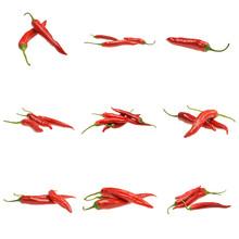 Pakiet Czerwonych Papryczek Chili Na Białym Tle