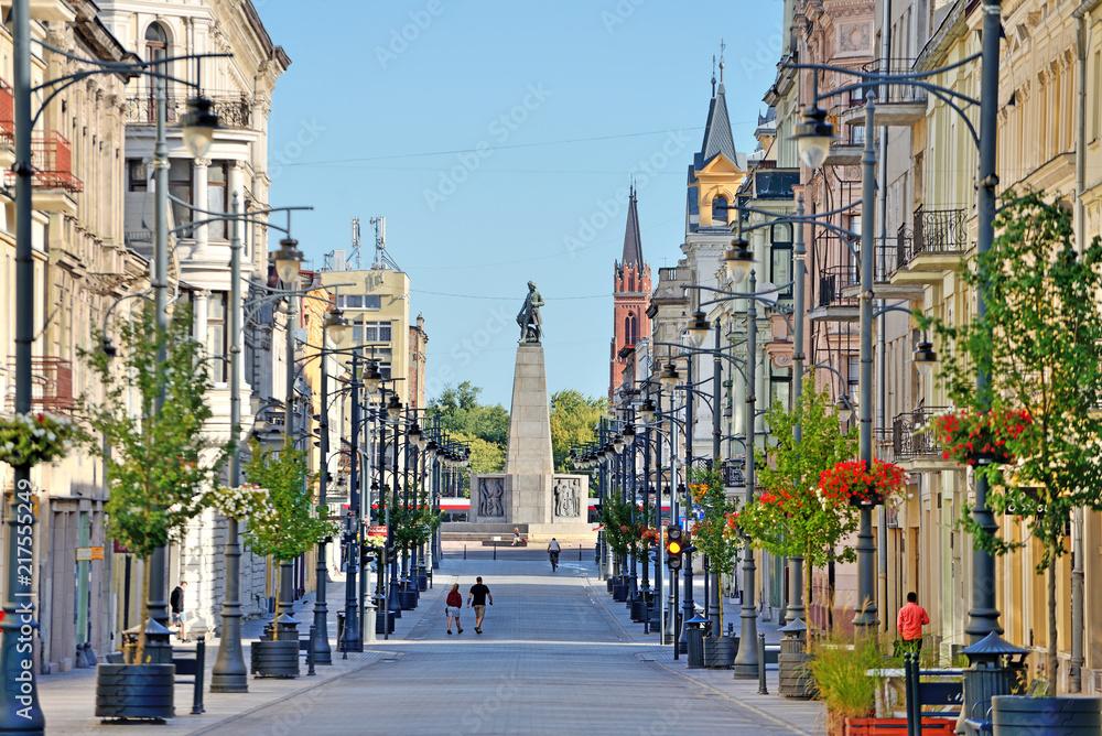 Fototapety, obrazy: Łódź, Polska- ul. Piotrkowska.