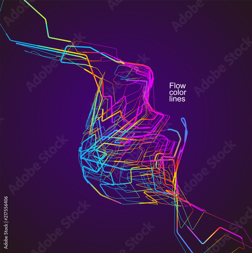 Photo  Moving colorful lines of abstract background