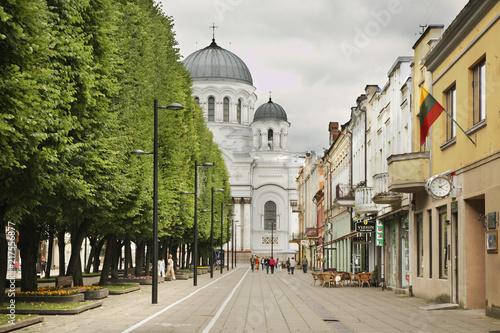 Canvas Liberty boulevard - Laisves aleja in Kaunas. Lithuania