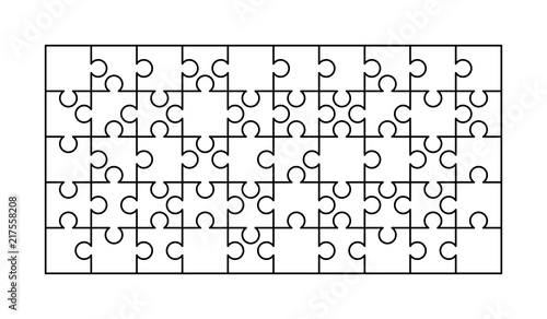 50 White Puzzles Pieces Arranged In A Rectangle Shape Jigsaw Puzzle