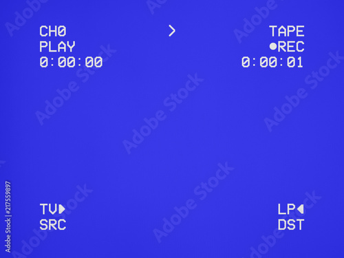 A clean blue VHS tape screen tracking a signal coming from a