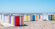 Le Havre, Cabanes De La Plage En Normandie, France