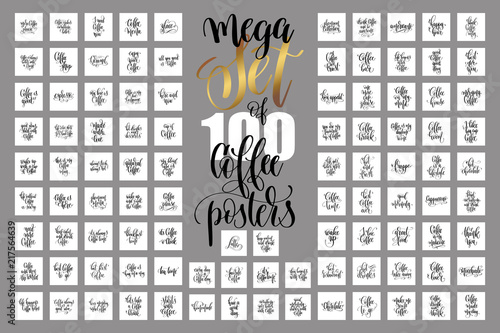 set of 100 hand lettering quotes about coffee drink Canvas Print