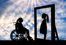 A Disabled Girl And Her Healthy Reflection In The Mirror