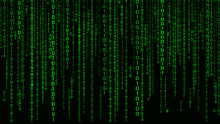 Digital Background Green Matrix. Binary Computer Code. Vector Illustration. Hacker Concept.