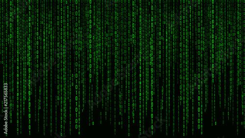 Photo Digital background green matrix