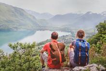Travel, Two Hikers Enjoying Beautiful Panoramic Mountain View, Summer Hiking In Alps