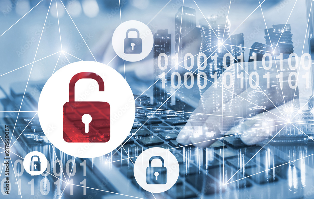 Fototapeta hacker attack and data breach, information leak concept, double exposure futuristic cyber  background with broken lock