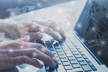 International Business Network Worldwide, Digital Marketing And E-commerce, Global Communication Background, Hands Typing On Computer Keyboard, Blockchain
