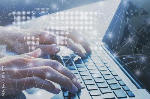 Obraz international business network worldwide, digital marketing and e-commerce, global communication background, hands typing on computer keyboard, blockchain - fototapety do salonu