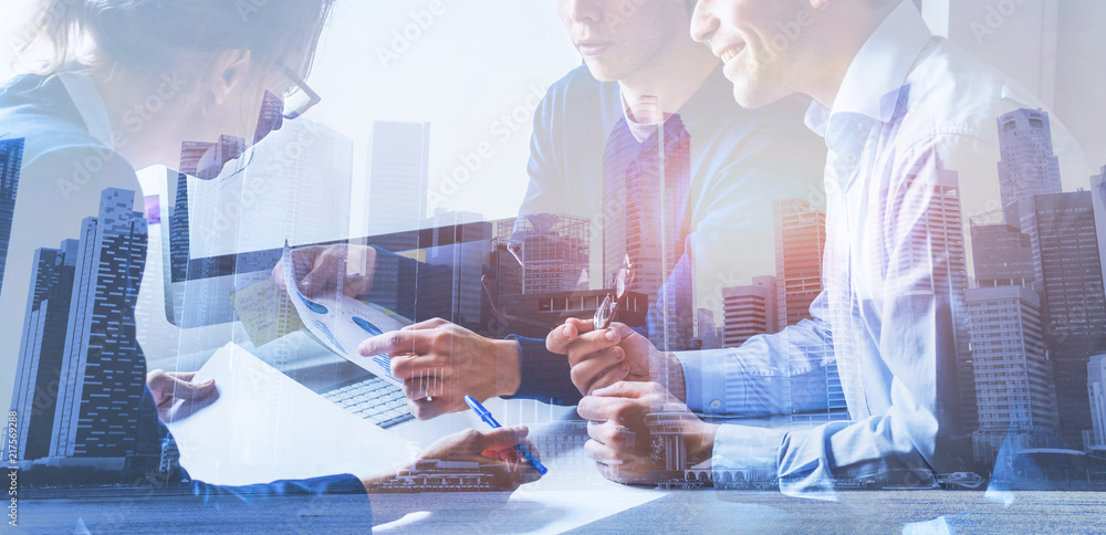 Fototapety, obrazy: business people working on marketing plan  together in modern office, teamwork, double exposure banner