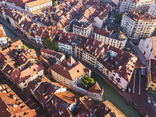 Annecy Palais De Isle And Thiou River Aerial Top View, Drone Cityscape Of Historical Landmark Architecture, Tourism Museum In France