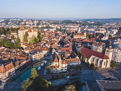 Photo aerial panoramic view of Annecy city, France, historical architecture of old tow