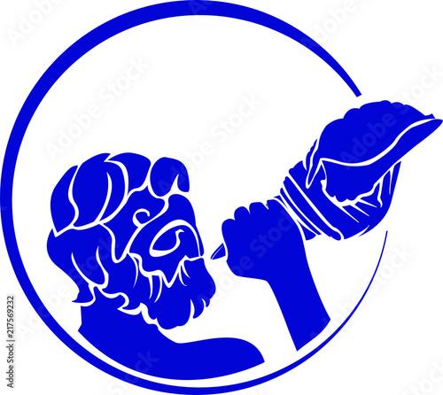 Fotografia Greek Sea God Triton Icon Logo