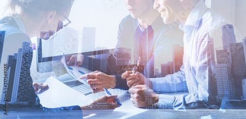 business people working on marketing plan together in modern office, teamwork, double exposure banner