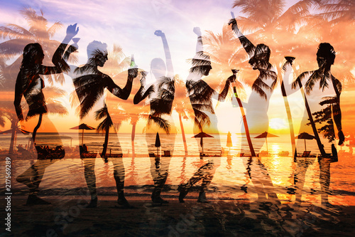 beach party double exposure, group of young people dancing, friends drinking beer and cocktails at sunset