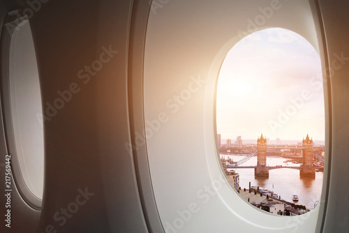 travel to London, view of Tower Bridge from window of airplane, tourism
