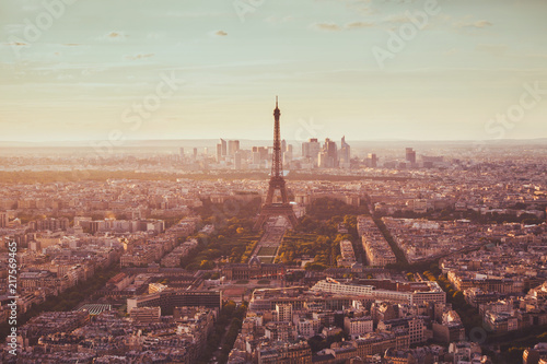 Fotobehang Centraal Europa Paris aerial view with Eiffel Tower, famous landmark in Europe, romantic travel destination