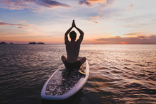 Yoga On SUP, Silhouette Of Man...