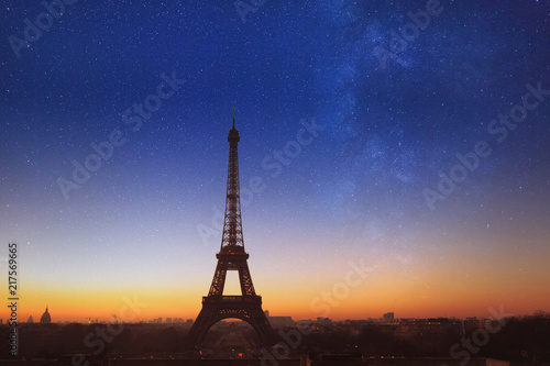 Poster Paris night in Paris with blue starry sky, beautiful romantic view of Eiffel Tower with stars, France