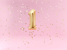 One Year Birthday. Number 1 Flying Foil Balloon And Confetti. One-year Anniversary Background.