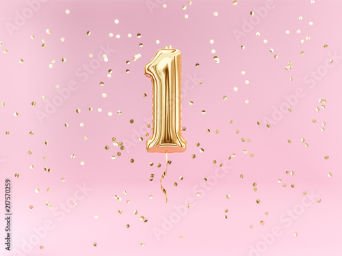 Fototapeta One year birthday. Number 1 flying foil balloon and confetti. One-year anniversary background. obraz