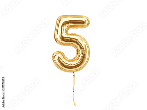 Photographie  Numeral 5. Foil balloon number five isolated on white background