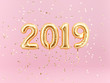 canvas print picture - New year 2019 celebration. Gold foil balloons numeral 2019 and confetti on pink background.