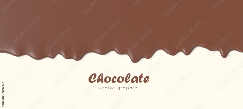 Fototapeta Chocolate flowing down, Dripping melted chocolate background, isolated vector illustration.